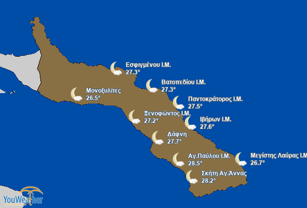 Weather map of Άγ.Όρος