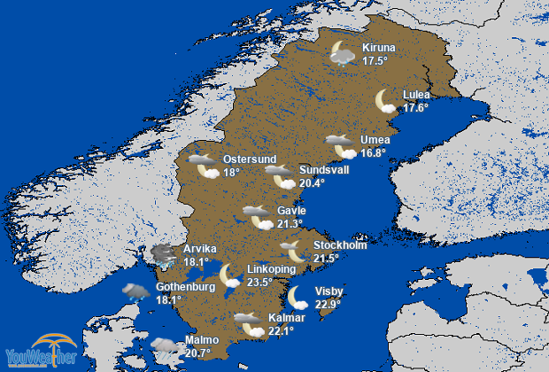 Weather map of Sweden (Sverige)