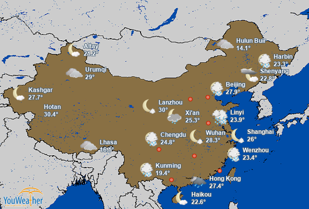 Weather map of China (中国)
