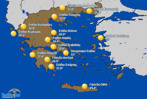 Weather map of Στάδια (Stadiums)