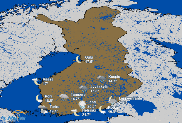Weather map of Finland (Suomi)