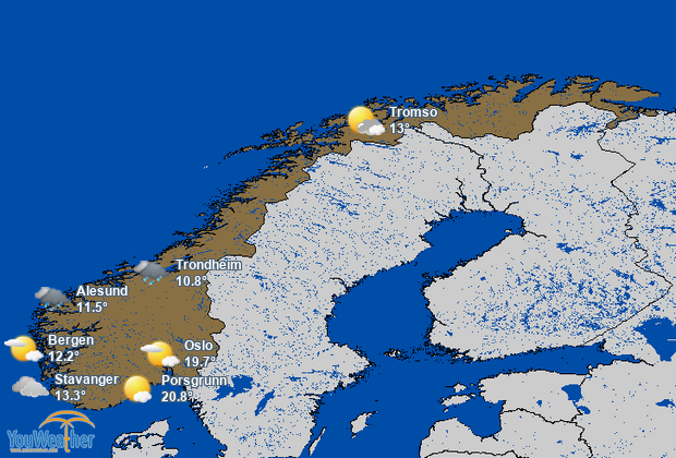 Weather map of Norway (Norge)