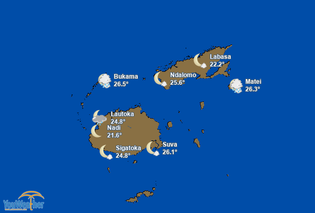 Weather map of Fiji