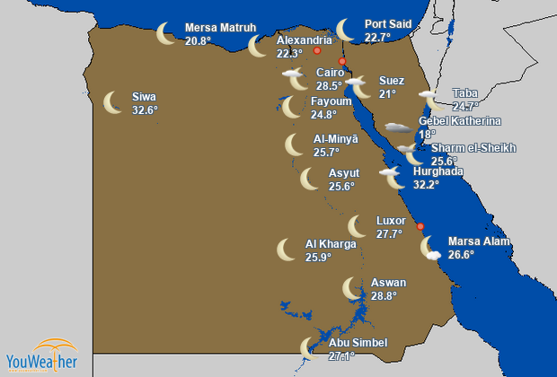 Weather map of Egypt (مصر)